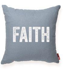 Faith Blue Throw Pillow