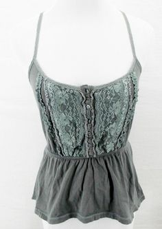 ABERCROMBIE & FITCH Gray Low Cut Lace Cropped Babydoll Cami Tank Top Shirt Sz M