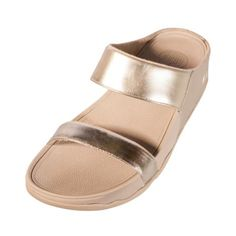 FITFLOP 289 Womens Ladies Lulu Slide Sandal Gold Leather