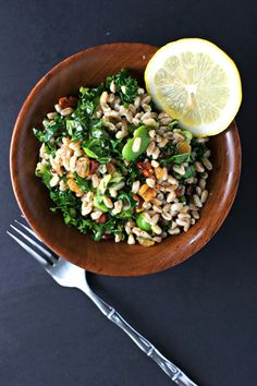 Kale Salad with Farro, Golden Raisins and Walnuts ~vegan~