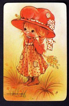 Vintage Swap Card Pretty Girl IN BIG RED HAT Blank Back | eBay