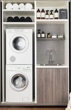 laundry room Small Laundry Closet Tap link now to find the products you deserve. Modern Laundry Rooms, Laundry In Bathroom, Bathroom Small, Bathroom Closet, Downstairs Bathroom, Master Bathroom, Laundry In Kitchen, Remodel Bathroom, Bathroom Interior