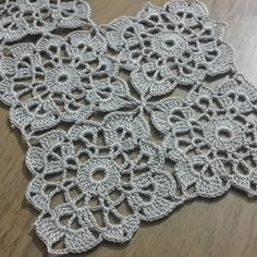 Crochet # weave # lace # making # & # - Crochet Motifs, Crochet Blocks, Crochet Squares, Crochet Doilies, Crochet Flowers, Crochet Stitches, Crochet Coaster, Thread Crochet, Crochet Designs