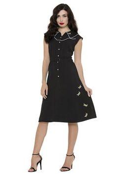 Rockabilly BUMBLE BUZZ BLACK DRESS $73.00 AT vintagedancer.com