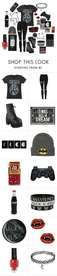 """Saved By BVB"" by causingpanicatthetheater on Polyvore featuring Topshop, Demonia, Polaroid, Oliver Gal Artist Co., KEEP ME, Sony and Manic Panic"