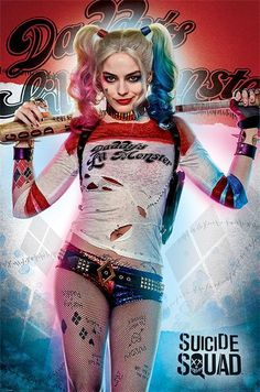 Suicide Squad - Framed Movie Poster/Print (Harley Quinn - Daddy's Lil Monster) (Size: 24 inches x 36 inches) Harley Quinn Et Le Joker, Harley Quinn Halloween, Margot Robbie Harley Quinn, Harley Quinn Cosplay, Halloween Kostüm, Harley Quinn Tattoo, Harley Quinn Drawing, Foto Joker, Harey Quinn