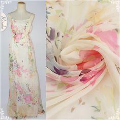 2014新品真丝雪纺面料 花朵丝绸布料服装汉服面料100%桑蚕丝 花簇