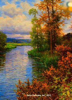 Louis Aston Knight - A River Landscape - Fall Oil on canvas 32 x 26 inches Signed and inscribed Paris Rehs Galleries, Inc., New York City Louis Aston Knight, Landscape Art, Landscape Paintings, Knight Art, New York Art, Watercolor Trees, Nature Paintings, Museum Of Fine Arts, View Image