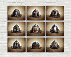 CHRISTMAS in JULY SALE On Sale Vintage Fireman Helmets, Set of Nine Photo prints, Nursery Decor, Rustic Decor, Boys Room Decor,