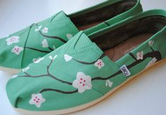 Hand Painted TOMS in Cherry Blossom Design by PaperHeartsApparel, $100.00