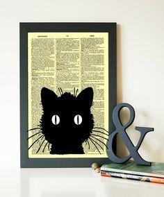 Buy 1 Get 1 FREE Cat Silhouette Art Print Dictionary Art Print Cat Poster Cat Decor wall decor book poster code  177 by demeraki on Etsy