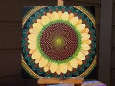 Golden Sunflower Dot Mandala, Art by Kaila Lance, Dot Painting, Sunflower, Gold and Metallic colors, Sacred Geometry, Mother Natures Art.... by KailasCanvas on Etsy