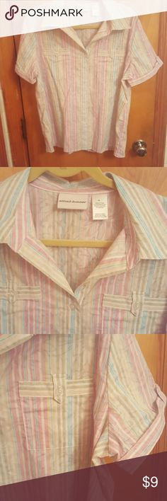 Never Worn Alfred Dunner button down size 16 Nice spring shirt with pink, green, nlue and yellow stripes and collar 5 buttons on front and 1 on each sleeve and pocket  Pocket on each front side 55% cotton and 45$ polyester  Machine wash cold and Tumble dry cool Great price! Never worn! Alfred Dunner Tops Button Down Shirts