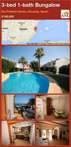 Bungalow for Sale in Els Poblets Denia, Alicante, Spain with 3 bedrooms, 1 bathroom - A Spanish Life Guest Toilet, Bungalows For Sale, Aluminium Windows, Apartments For Sale, Alicante Spain, Wood Colors, Ground Floor, Google, Terrace