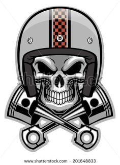skull and crossed piston - stock vector                                                                                                                                                                                 Más