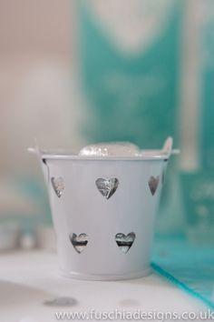 White wedding favour pail with heart milk chocolates. www.fuschiadesigns.co.uk