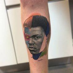 Muhammad Ali mashup-up portrait tattoo.