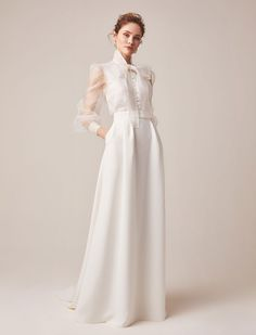 Wedding dress with sleeves Jesus Peiro reveals 2020 bridal collection., Wedding dress with sleeves Jesus Peiro reveals 2020 bridal collection. Click the link to view the full collection. Dream Wedding Dresses, Bridal Dresses, Wedding Gowns, Lace Wedding, Wedding Outfits, Bridal Separates, Blouse And Skirt, Bow Blouse, Mermaid Dresses