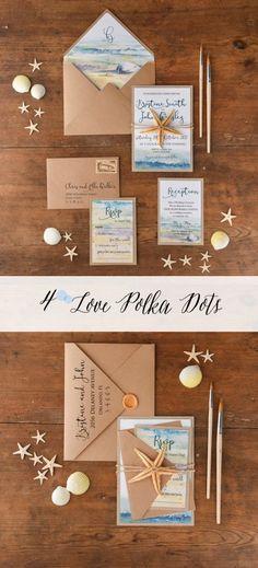 Summer wedding invitation with beach landscape and real starfish 4lovepolkadots #sponsored