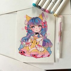 Chibi Girl Drawings, Girl Drawing Sketches, Kawaii Drawings, Manga Drawing, Cartoon Drawings, Cartoon Art, Cute Drawings, Manga Anime Girl, Anime Chibi