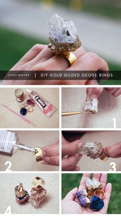 DIY GIFT IDEA | Gold Gilded Geode Ring