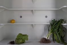 Handcrafted open larder cupboard with wooden shelving. Perforated zinc mesh vent holes. Hand painted. Honed Carrara Marble worktop. Small Georgian brackets