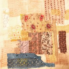 Naturally dyed and vintage fabrics - second day of lockdown here in France , medative stitch work . Everyday i will add stitch , until the end of confinement . Ann Stephens Hand Embroidery Stitches, Hand Stitching, Vintage Fabrics, Textiles, Quilts, Blanket, Ann, France, Quilt Sets
