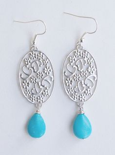 Blue and Silver Drop Filigree Earrings