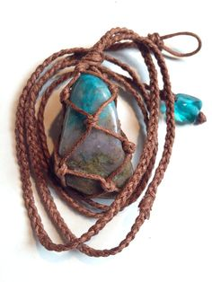 Wrapped Healing Crystal Necklace Chrysocolla by LonelyMoonChild