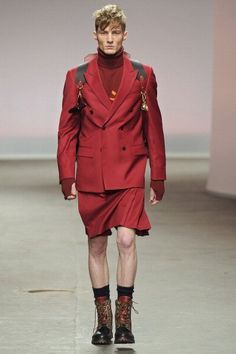 The Topman collection also includes a modern version of the Catholic school girl uniform, only all in red. And for men.