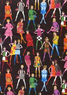 """Makower Fabric 60's Retro Fashion Models on Black- 1 yard 26"""""""