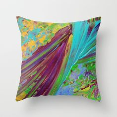 COLOR CHAOS Wild Vibrant Colorful Abstract Acrylic Painting Lime Green Plum Purple Gift Art Decor Throw Pillow by EbiEmporium - $20.00