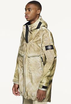 Stone Island Prototype Research _Series Lasering on Liquid Reflective Base North Faces, The North Face, Men's Jacket, Stone Island, Future Fashion, S Man, Silhouettes, Blue Grey, Military Jacket