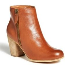 BP. 'Trolley' Leather Ankle Bootie Burnished Cognac/ Natural Heel 5 M