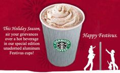 Starbucks red cup controversy, new aluminum Festivus cup and Festivus Pole