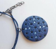 Geometric design pendant / Beaded mandala style necklace /