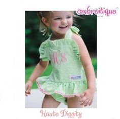Haute Diggity - Haute Diggity - The Abby One Piece Seersucker Swim Suit PDF Sewing Pattern - 3-6 mos to Size 6 on sale now at Embroitique!