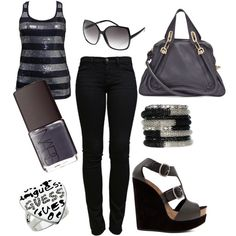"""""""grey & black"""" by doux-afrique on Polyvore"""