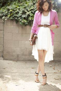 asymmetrical dress with a belted cardi