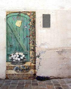 "Paris Photograph, ""COUNTRY DOOR GRAFFITI,"" Fine Wall Art, Impressionist Graffiti Art, 8x10 image, Home Decor, flowers, mint green, neutral"