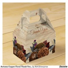 Autumn Copper Floral Thank You Wedding Favor Box