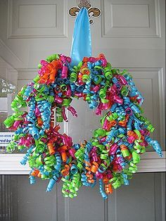 for fiesta! Cute wreath idea, use seasonal colored curling ribbon for holidays or favorite colors for a birthday wreath! so going to try this!