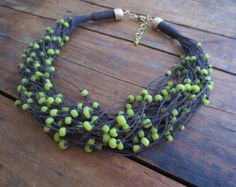Multy Strand Linen Necklace,  Boho Necklace, Lime Indo-pacific Glass Beads, Dark Brown Line