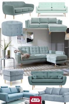 Living Room Sofa Design, Cozy Living Rooms, Living Room Decor, Furniture Decor, Furniture Design, Salons Cosy, Green Sofa, House Paint Exterior, Interior Decorating