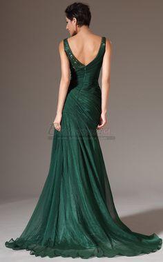 #bridesmaiddresses Dark Hunter Green Long Mermaid Chiffon and Lace Straps Bridesmaid Dress JT-CA1336