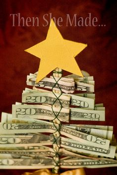 14 Creative Money Gift and Cash Gift Tutorials- christmas gifts Craft Gifts, Diy Gifts, Holiday Fun, Christmas Holidays, Christmas Tree, Christmas Morning, Creative Money Gifts, Gift Money, Creative Ideas