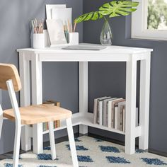 Perfectly suited for smaller spaces like studio apartments and kids' bedrooms, this desk can quite easily be tucked into a corner. Crafted from laminated manufactured wood and particle board, is triangular frame measures 30'' H x 39.61'' W and is finished with a neutral white tone. Though small in size, this piece offers some storage space with an open lower shelf spanning the base. Manufacturer provides a one-year warranty for this product. Assembly is required.