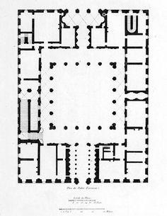 062-HIGH RENAISSANCE ARCHITECTURE, Sangallo; Plan of the Palazzo Farnese, Rome, begun 1517