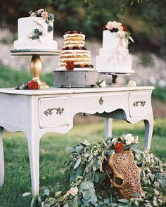 Delicious #dessert table alert! Click the link in our profile to see some beautiful fall #bohemian wedding inspiration today.  Cakes: @fantasyfrostings   Planners & Designers: @amberevents   Photographer: @traviskaenel_photographer   Florist: @thenatureofthings   Venue: @the_secret_garden_oakglen   Rentals: @archiverentals   Bull skull: @carvedskulls