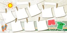 Plantilla Child 29x58 para la Creación de Foto Libros - Imagen Fondo Verano, decorada con motivos estivales. Dispone de 8 casillas para insertar fotografías que simulan ser fotos tendidas bajo la calida brisa del verano.